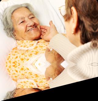 caretaker attending her patient